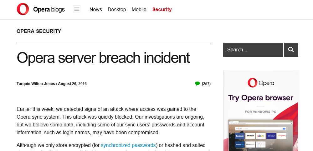 Opera synsに不正アクセス-ユーザーIDとパスワードが漏洩