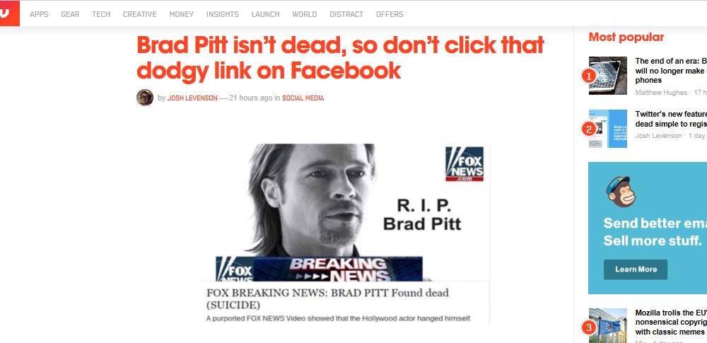 Facebookがマルウェア感染に注意喚起-「ブラピ追悼」はデマ