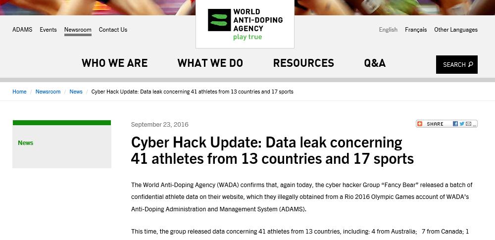 露ハッカーの攻撃続くWADA-柔道、松本薫の情報も