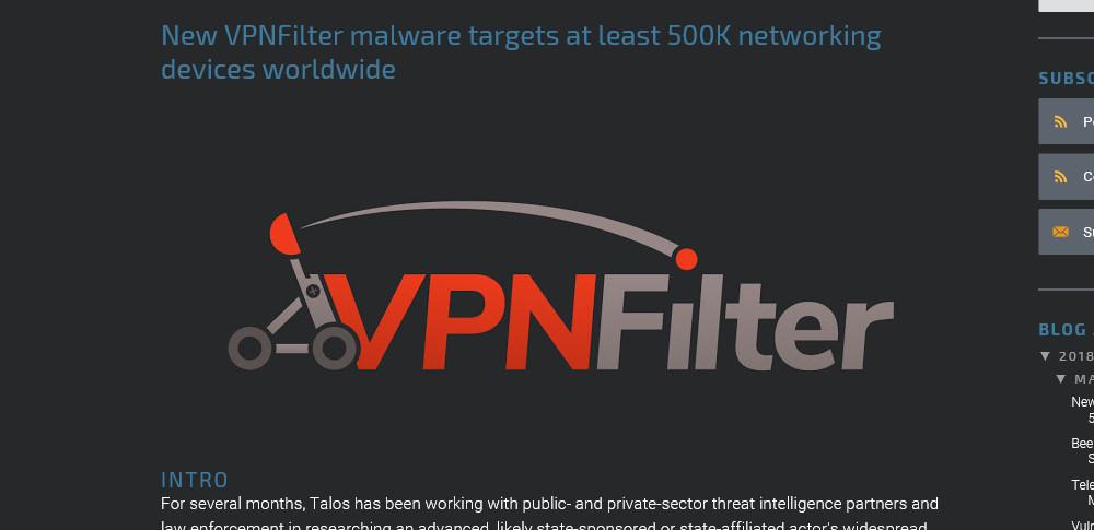 ルーター感染型マルウェア「VPNFilter」が猛威を振るう!国家支援による可能性も