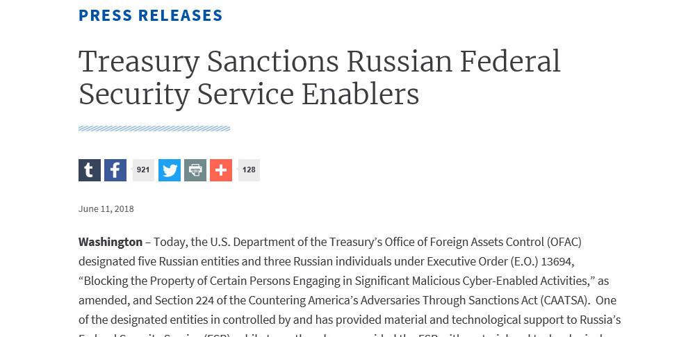 大規模サイバー攻撃に関与、米財務省がロシア企業などを制裁