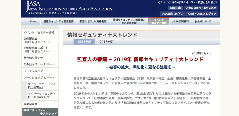 2019年「情報セキュリティ10大トレンド」を発表、日本セキュリティ監査協会