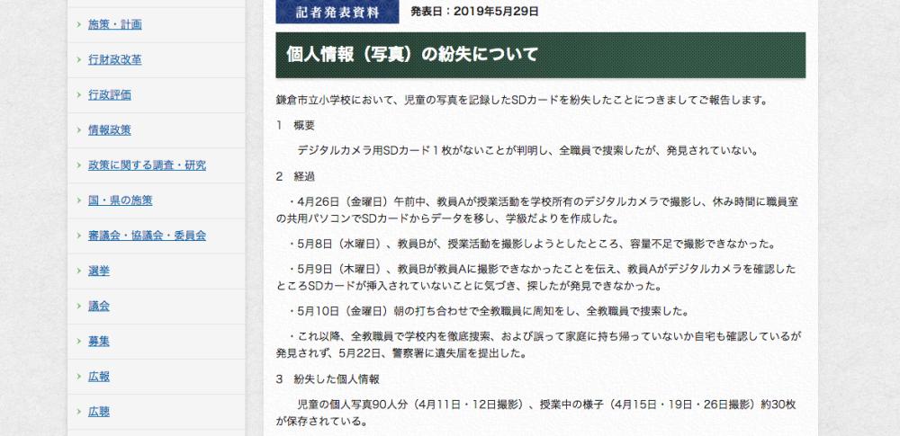 児童の写真90枚などを記録したSDカード紛失|鎌倉市立小学校