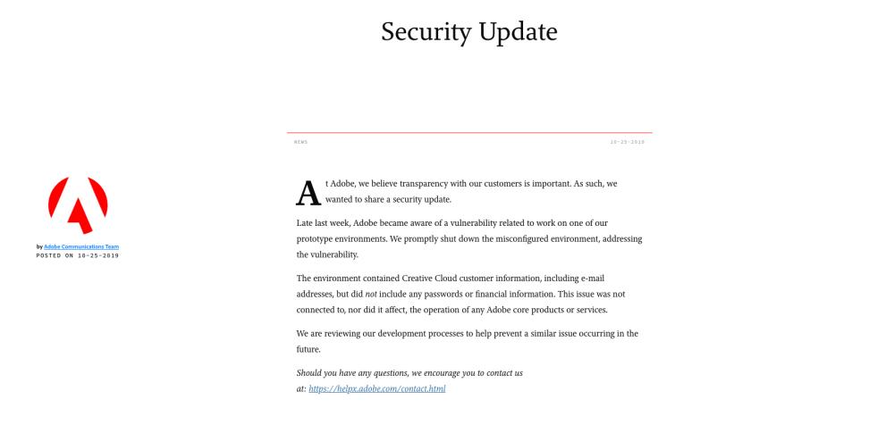 米Adobe、脆弱性により登録者情報750万件に流出の可能性