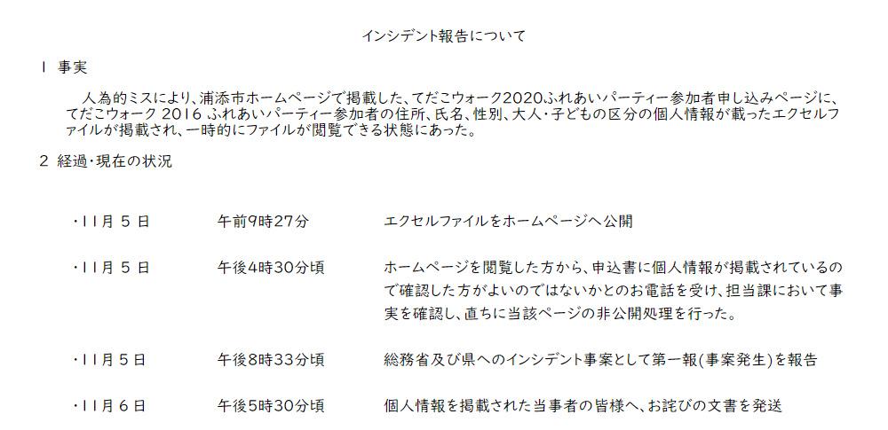 浦添市主催イベントで過去参加者91名の情報を誤掲載、人為的ミス防げず