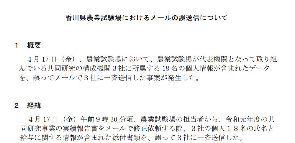香川県農業試験場で誤送信、共同研究機関3社18名のアドレス流出