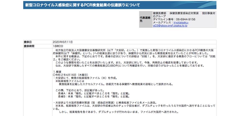 新型コロナ検査結果を取り違えたままメール送信、感染者が早期退院|大阪府